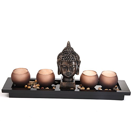 giardino zen thai buddha testa ornamento statua portacandele set regalo