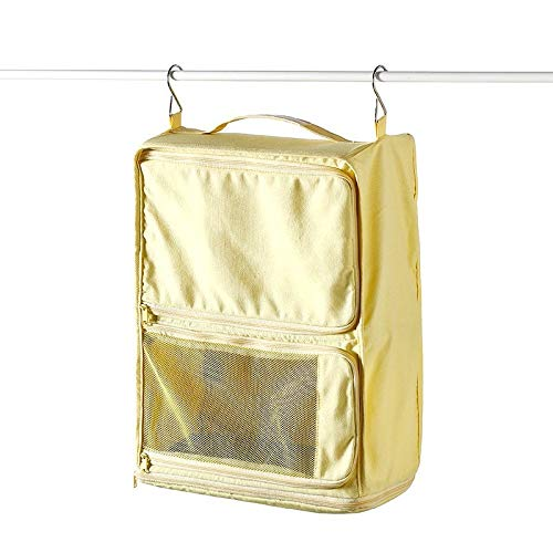 Waterproof Travel Hanging Sort Out Bag Portable Travel Makeup Kit for Women (Multicolor) Warm Yellow 39X32X16cm -
