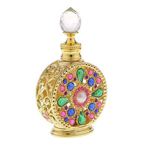 perfk 10ml /12ml Bouteille de Parfum Vide Crystal Verre Atomiseur Cadeau pour Couple Famille Or - 10ml