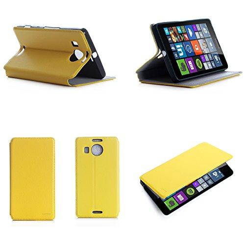 Microsoft Lumia 950 XL Dual Sim Tasche Leder Style gelb Hülle Cover mit Stand - Zubehör Etui smartphone 2015 Lumia 950 XL Flip Case Schutzhülle (Handy tasche folio PU Leder, Yellow) - Brand XEPTIO accessoires