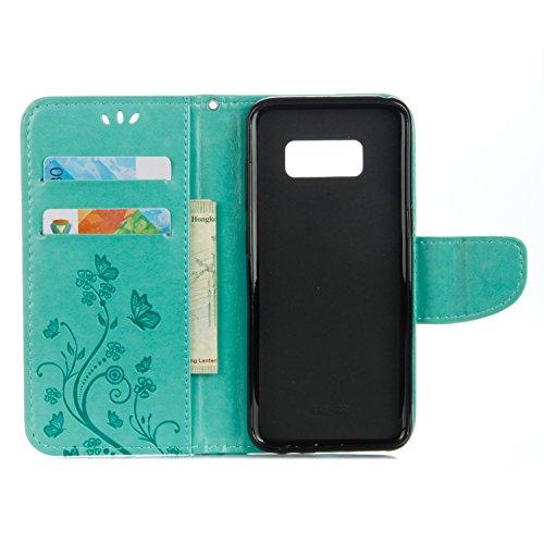 Samsung Galaxy S8 Cover Protettiva, Alfort 2 in 1 Custodia in Pelle Verniciata Goffrata Farfalle e Fiori Alta qualità Cuoio Flip Stand Case per la Custodia Samsung Galaxy S8 Ci sono Funzioni di Suppor Verde