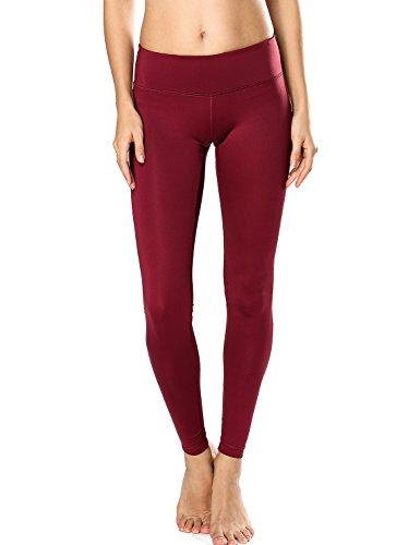 CRZ YOGA Femme Legging de Sprot Yoga Longueur Longs Poche de Clé Collant Running Rouge foncé