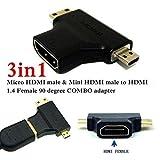 CAPSLOCK 3 in 1 Mini + Micro Male HDMI to HDMI Female Adapter