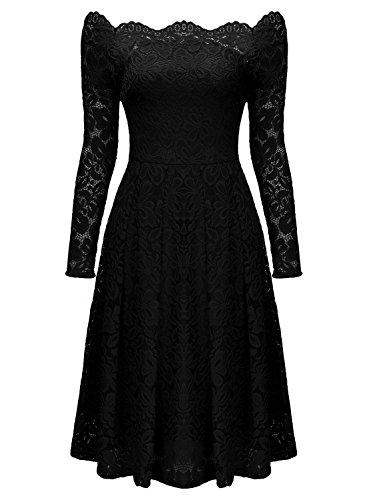Miusol Damen Vintage 1950er Off Schulter Cocktailkleid Retro Spitzen Schwingen Pinup Rockabilly Kleid Schwarz Gr.XL -