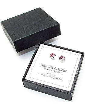 925-Sterling Silber Ohrstecker handgefertigt mit funkelnden Light Rose Kristall aus SWAROVSKI®.