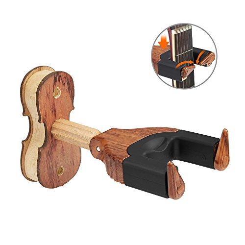 Gitarrenhalter Universell Gitarren wandhalter mit Automatischen Greifarmen aus Holz Ständer für Akustikgitarre, klassische Gitarre, E-Gitarre, Bass, Ukulele