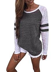 Hiroo Mujeres Niñas Blusa de empalme de manga larga Camisa Super Confort Camiseta de la raya de la impresión raya Elegantes tops de trabajo Sudaderas con capucha de túnica ligera (gris oscuro, S)