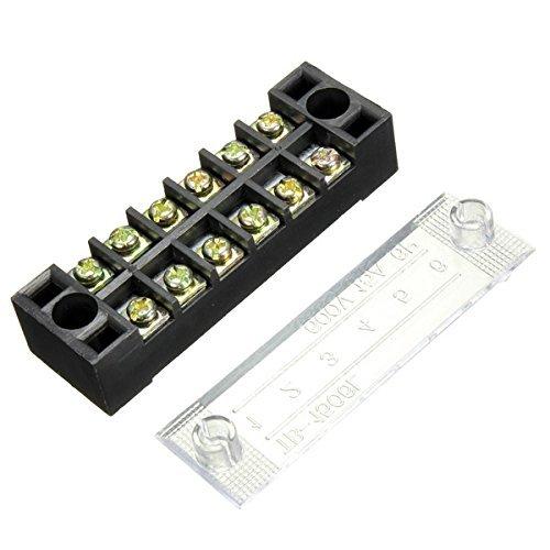 Ninth-City 2 Stück 6 Positionen Doppelreihige Draht-Schraubverbinder elektrische Absperrpfostenleiste Panel Block 600 V 15 A Marine Distribution Panels