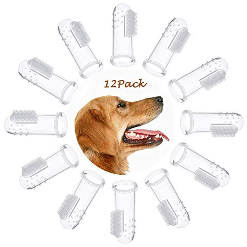 OneBarleycorn - 12 pcs weiche silikon pet finger zahnbürsten für hunde katzen, hundezahn reiniger pinsel hund katze zähne reinigung zahnpflege