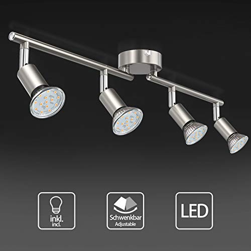 Uchrolls LED Deckenleuchte Schwenkbar, 4 Flammig, inkl. 4 x 3.5W Leuchtmittel GU10 LED, 380LM, Warmweiß, LED Deckenlampe LED Deckenspot LED Deckenstrahler LED Leuchte