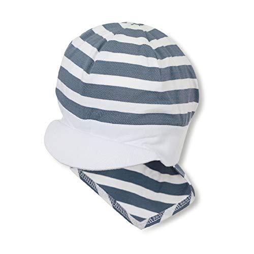 Sterntaler - Jungen Baby Sommermütze mit Schirm und Nackenschutz, Piratentuch, UV-Schutz 50+, blau weiß - 1501920, Größe 53 -