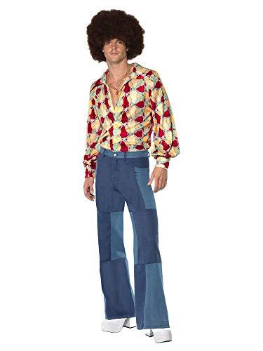 shoperama 70er Jahre Retro Herren Disco Kostüm Hemd Denim-Hose Jeans Patchwork Bad Taste Dancefloor Schlagermove Festival, - 70's Disco Pimp Kostüm