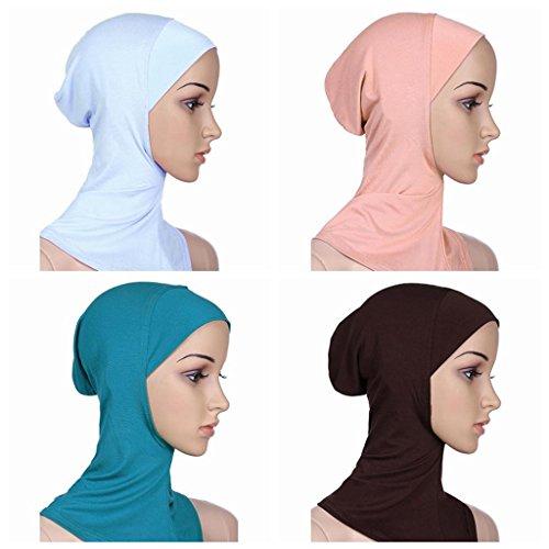 Ksweet Islamisch Stil Kopftuch Hijab kopftücher Leicht Unter Schal Knochen Bonnet 4pcs (Ninja Anzug Weißer)