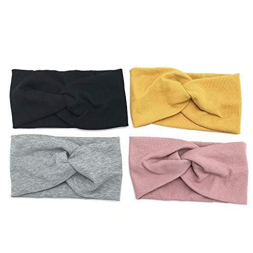 Schneespitze 4 pezzi fascia capelli donna fascia elastica turbante per donna,elastico fascia sportiva nero/grigio/giallo/rosa