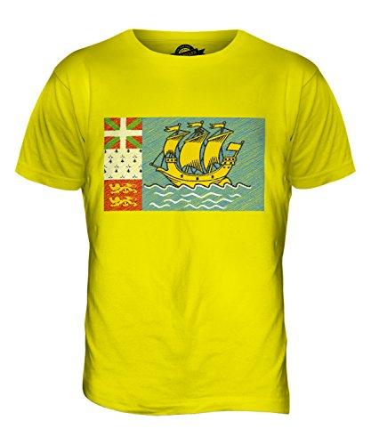 CandyMix Saint-Pierre Und Miquelon Kritzelte Flagge Herren T Shirt Zitronengelb