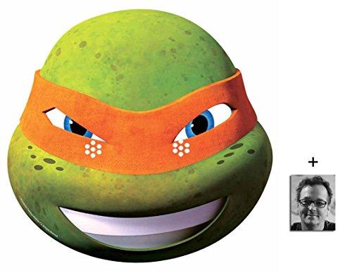 Michelangelo Teenage Mutant Ninja Turtles (TMNT 2015) Single Cardboard Face Mask 2015 includes 6x4 inch (15cm x 10cm) Star (Ninja April Turtles Kostüme)