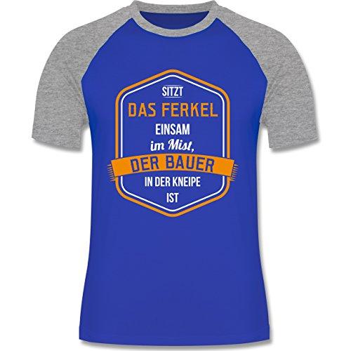 Landwirt - Bauernweisheit Ferkel - zweifarbiges Baseballshirt für Männer Royalblau/Grau meliert