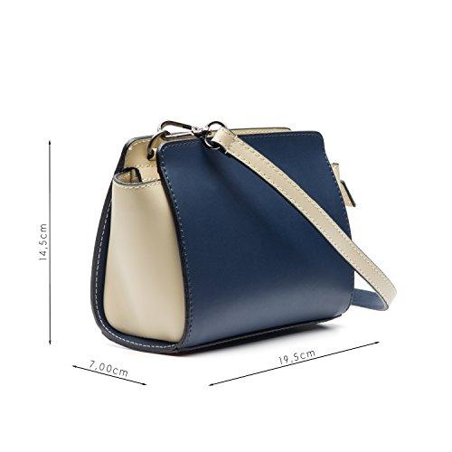 Almo - Borsa in pelle da donna made in Italy, a tracolla o a spalla Blu e bianco