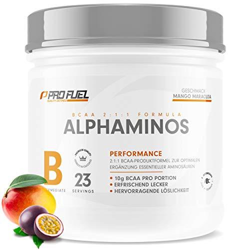 ALPHAMINOS   BCAA Pulver 2:1:1   Das ORIGINAL von ProFuel   Essentielle Aminosäuren   Unfassbar leckerer Geschmack   300g - MANGO MARACUJA -
