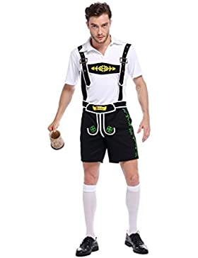 Oktoberfest Kostüm Trachtenhemd+ Lederhose Kniebundhose mit Träger Herren