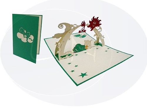 Lin de Pop up 3D Cartes de vœux Félicitations cartes cartes cartes de vœux naissance bébé Cartes de naissance, bébé dans sommeil pour jeune fille