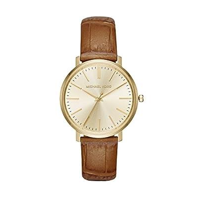 Michael Kors Jaryn - Reloj análogico de cuarzo con correa de cuero para mujer, color marrón/oro
