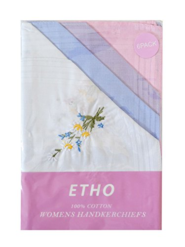 6 Pack Damen/Damen gefärbte & Floral bestickte Taschentücher 100 % reiner Baumwolle, In & Geschenkbox (Bestickte Tasche Floral)