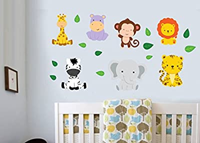 Childrens Jungle Animals with Leaves - Pack of 18 - Wall Art Vinyl Printed Stickers - low-cost UK light shop.