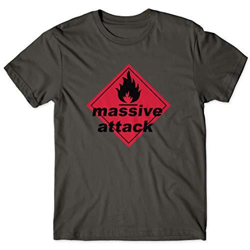 LaMAGLIERIA Herren-T-Shirt Massive Attack Classic Logo - 100% Baumwolle Rock Trip hop Band t-Shirt, L, Dunkelgrau (Massive Tshirt)
