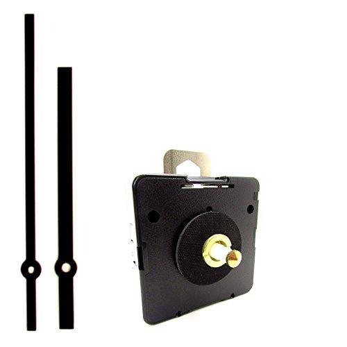 Ricambio quarzo UTS Euro albero motore meccanismo movimento orologio con lancette nere su perno–Medium–16mm Lunghezza asta Singolo Black