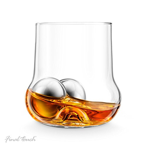 Final Touch ROCK Roller Whiskey Glass bauchige form, Edelstahl Bälle & Zangen Drinking Gift Set (Rock & Roller Brille)