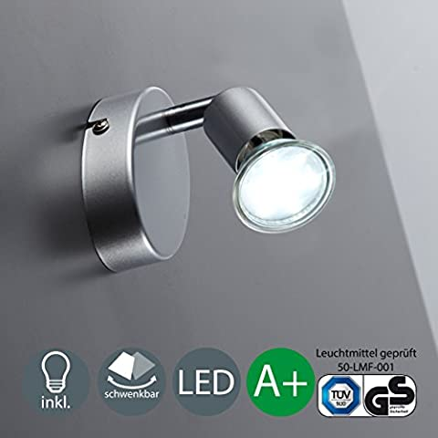 Spot Blanc Patere Gu10 - Plafonnier LED/Patère 1 spot LED/Spot/GU10/3W/250lumen/orientable/titane, 230