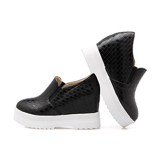 VogueZone009 Femme Tire Pu Cuir Rond à Talon Haut Couleur Unie Chaussures Légeres Noir