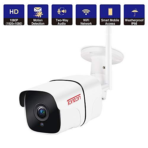 Ip-Übertragung (Tonton Full HD 1080P IP Kamera, Outdoor WiFi Full HD Audio Sicherheitskamera mit WLAN Verbindung, 65ftIR Nachtsicht, 2 Wege Audio, Bewegungserkennung, Kompatibel mit Smartphones,Tablets und PC)