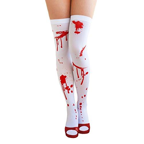 Oblique Unique® sexy Strumpfhose Overknee weiß blutverschmiert - Helloween Krankenschwester Kostüm