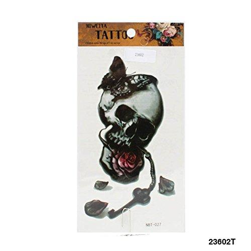 Tattoo großer Totenkopf mit Schmetterling, Rose und Schlüssel