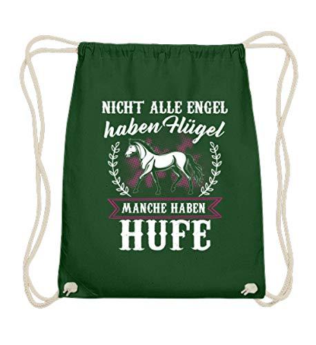 Pferde Shirt · Geschenk für Reitsport Fans · Pferd Motiv: Nicht alle Engel haben Flügel - Baumwoll Gymsac -37cm-46cm-Dunkelgrün
