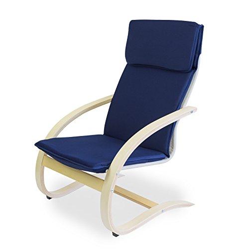 Homestyle4u Schwingsessel Freischwinger Sessel in blau natur Relaxsessel Schaukelstuhl Schwingstuhl