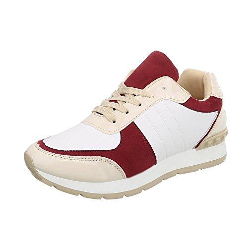 Ital-Design Sneakers Low Damen-Schuhe Schnürsenkel Freizeitschuhe Rot Multi, Gr 40, G-84-1-