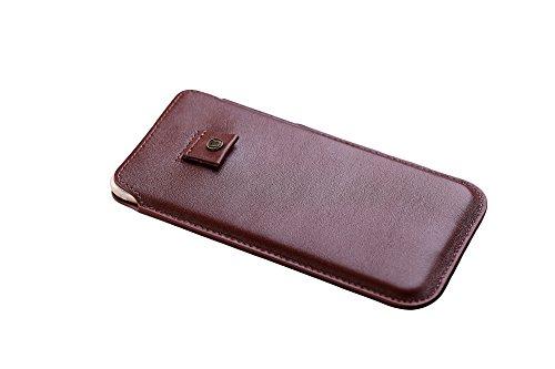 Cronus und Rhea® | Luxus Smartphone Tasche mit Zugband aus exklusivem Leder (Athena) | Hülle - Etui - Case | Echtleder | Mit eleganter Geschenkbox | Herren - Damen (Cognac)