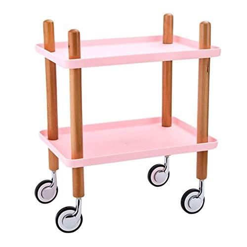 ZHJZWJ Aufbewahrungswagen für die Küche Küchenwagen, Auto Beauty Salon Rack Küche Mobile Lagerregal Nordic Double Tray Essen (Color : Pink)