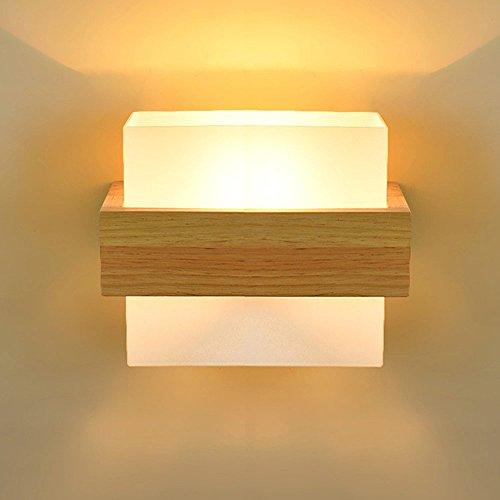 HJZY Moderne Einfache Massivholz Wandleuchte Wandleuchte mit Glas Lampenschirm Warme Persönlichkeit Schlafzimmer Schlafzimmer Wohnzimmer Nacht Korridor Gang Balkon Eiche Einzelkopf Wandleuchte -