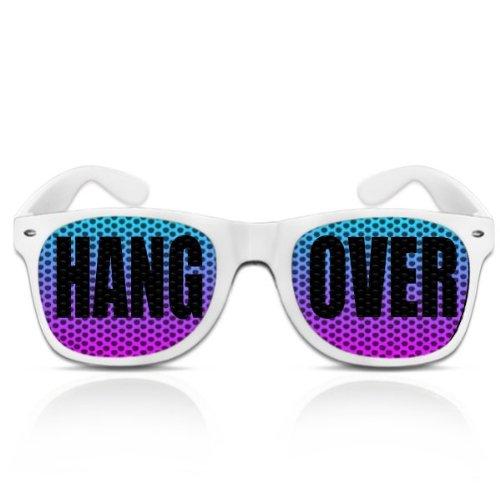 Partybrillen bedruckte Pilotenbrille mit Motiv JGA Faschingbrille Spassbrille Karneval Promotionbrillen - Hangover (Weiß)
