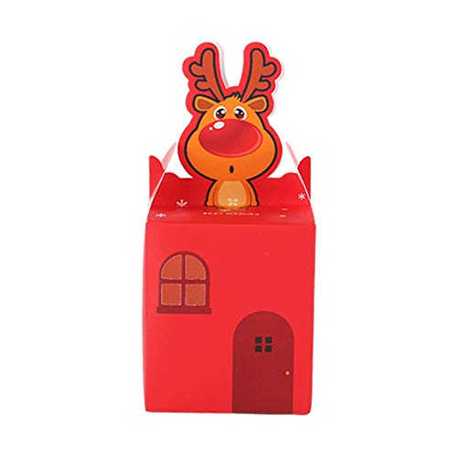 (Da.Wa Weihnachts Geschenk Kästen 10 Stücke DIY Taschen mit Christmas Muster Candy Apple Papier Box Container für Heiligabend Rot)