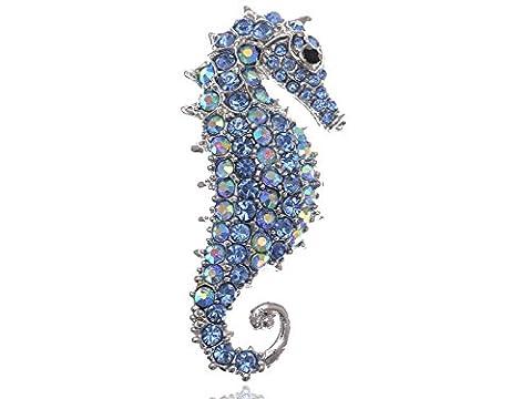 Alilang Brosche Seepferdchen Saphir Kristall, mit Aurora Borealis-Effekt - Seahorse Sapphire