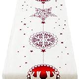 JERKKY 270x28 cm Rectangular Clásico Rojo Blanco Mesa de Navidad Corredor Reno Cartas Imprimir Algodón Lino Mantel Largo Bandera Cubierta Año Decoración de Fiesta Estrella + Copo de Nieve