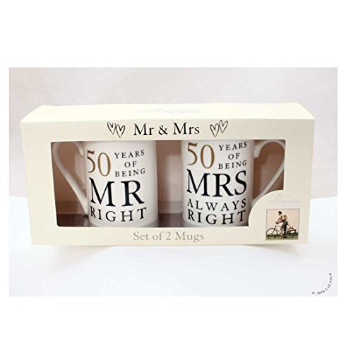 50th Anniversary Gift Set of 2 China Mugs 'Mr Right & Mrs Always Right' by Shop Inc