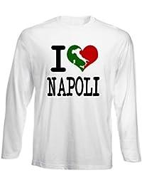 T-Shirt Manica Lunga Uomo Bianca TLOVE0061 I Love Napoli Italian c15490c7c54