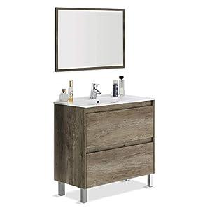 ARKITMOBEL Artikmobel 305040H – Mueble de Baño Dakota con Dos Cajones y Espejo, Modulo Lavabo Acabado en Color Nordik…
