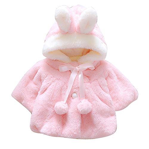 Chennie Neugeborenes Baby-Winter-warmes Ohr mit Kapuze Kunstpelz-Fleece-Jacken-Mäntel Hoodie (Color : Pink, Size : 10-18M) (Kaninchen Garn Angora)